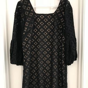 Anthropologie Black Lace Party Dress Bell Sleeves